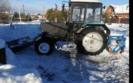 Чистка снега трактором щетка отвал. Тула, область
